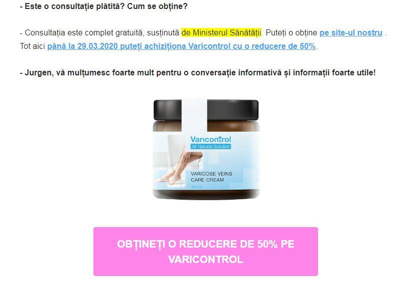 crema împotriva revizuirilor varicose)